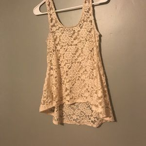 High low lace tank